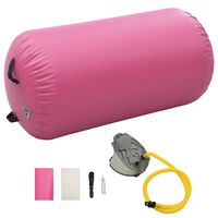 vidaXL täispumbatav võimlemisrull pumbaga 120x75 cm PVC roosa