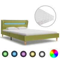 vidaXL voodi LEDi ja madratsiga roheline kangas 140 x 200 cm