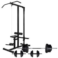 vidaXL Power Tower with Barbell and Dumbbell Set 60,5 kg (90136+90375)