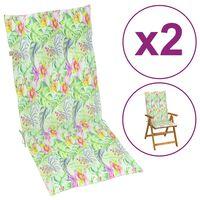 vidaXL Garden Chair Cushions 2 pcs Leaf Pattern 120x50x4 cm