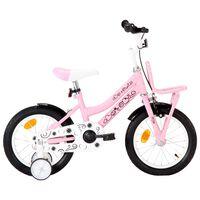 vidaXL laste jalgratas esipakiraamiga, 14'', valge ja roosa