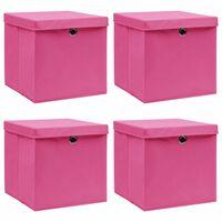 vidaXL hoiukastid kaantega 4 tk, roosa, 32 x 32 x 32 cm, kangas