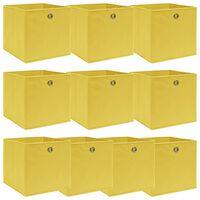 vidaXL hoiukastid 10 tk, kollane, 32 x 32 x 32 cm, kangas
