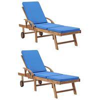 vidaXL lamamistoolid istmepatjadega 2 tk, tiikpuu, sinine