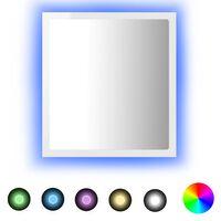 vidaXL LED vannitoa peeglikapp, kõrgläikega, valge, 40 x 8,5 x 37 cm, puitlaastplaat
