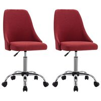 vidaXL Rolling Office Chairs 2 pcs Wine Red Fabric (323234)
