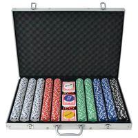 vidaXL 1000 žetooniga pokkerikomplekt alumiiniumkohvris
