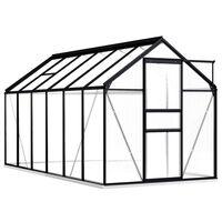 vidaXL kasvuhoone alusraamiga, antratsiithall, alumiinium 7,03 m³