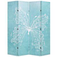 vidaXL kokkupandav sirm 160 x 170 cm liblikaga, sinine