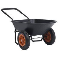 vidaXL aiakäru, must ja oranž, 78 L, 100 kg