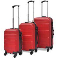 vidaXLi kolmeosaline kõvakattega kohvrite komplekt punane
