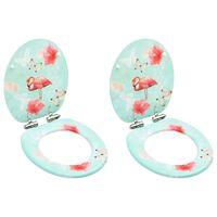 vidaXL WC prill-lauad pehmelt sulguva kaanega 2 tk, MDF, flamingod