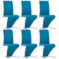vidaXL söögitoolid siksaki kujuga 6 tk, sinine, kunstnahk