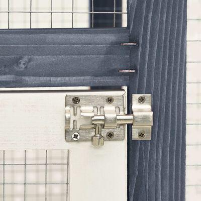 vidaXL küülikupuur, hall ja valge, 140x63x120 cm, kuusepuidust