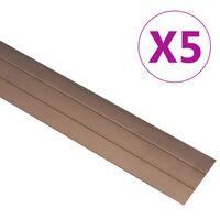 vidaXL põrandaprofiilid 5 tk, alumiinium, 90 cm, pruun