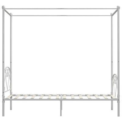 vidaXL baldahhiiniga voodiraam, valge, metall, 120 x 200 cm