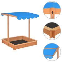 vidaXL liivakast reguleeritava katusega, nulupuit, sinine UV50