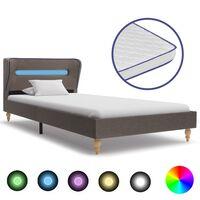 vidaXL voodi LEDi ja mäluvahust madratsiga, tumehall kangas 90x200 cm