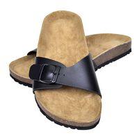 vidaXL naiste bio korktallaga sandaalid 1 rihmaga, must, suurus 38