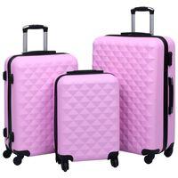 vidaXL kõvakattega kohver 3 tk roosa ABS