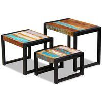 vidaXL kolm üksteise alla mahtuvat taastatud puidust lauda