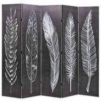 vidaXL kokkupandav sirm 200 x 170 cm, suled, must ja valge