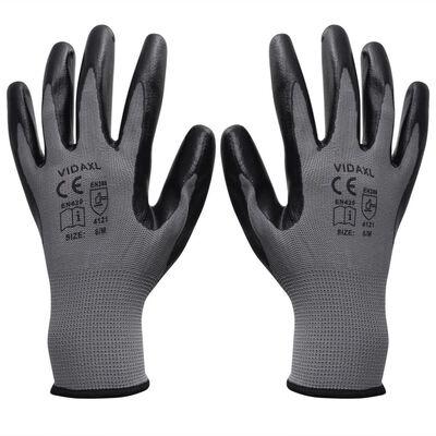 vidaXL töökindad 24 paari, hall ja must, suurus 9/L