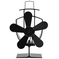 vidaXL soojusenergial põhinev ahjuventilaator 5 labaga, must
