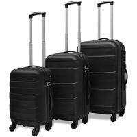vidaXLi kolmeosaline kõvakattega kohvrite komplekt must