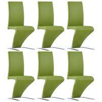 vidaXL söögitoolid siksaki kujuga 6 tk, roheline, kunstnahk