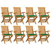 vidaXL aiatoolid roheliste istmepatjadega, 8 tk, tiikpuu
