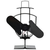 vidaXL soojusenergial põhinev ahjuventilaator 2 labaga, must