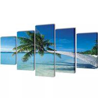 Seinamaalikomplekt rannaliiv ja palm, 100 x 50 cm