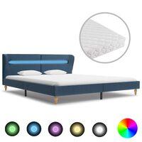 vidaXL voodi LEDi ja madratsiga, sinine kangas 160 x 200 cm