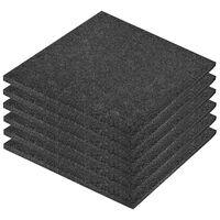 vidaXL põrandakaitsematid, 6 tk, kumm, 50 x 50 x 3 cm, must