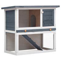 vidaXL õues kasutamiseks mõeldud küülikupuur, 1 uks, hall, puit