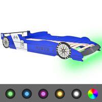 vidaXL võidusõiduauto kujuga lastevoodi 90 x 200 cm sinine