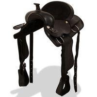vidaXL vesternsadul, valjad ja rinnarihm, nahast 40,6 cm, must