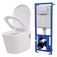 vidaXL seinale kinnituv peidetud loputuskastiga valge WC-pott