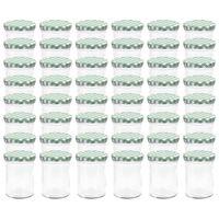 vidaXL klaasist moosipurgid valge ja rohelise kaanega 48 tk, 400 ml
