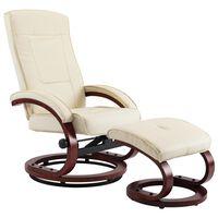 vidaXL allalastava seljatoega tool jalapingiga kreemjasvalge kunstnahk