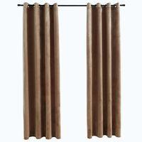 vidaXL pimendavad kardinad rõngastega 2 tk, samet, beež, 140 x 245 cm