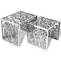 vidaXLi kandiline 2-osaline lisalaud, alumiiniumist, hõbedane