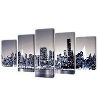 Must-valge New Yorgi siluetiga lõuend seinale 200 x 100 cm