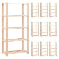vidaXL 5-korruselised hoiuriiulid 10 tk 80x38x170 cm männipuit 250 kg