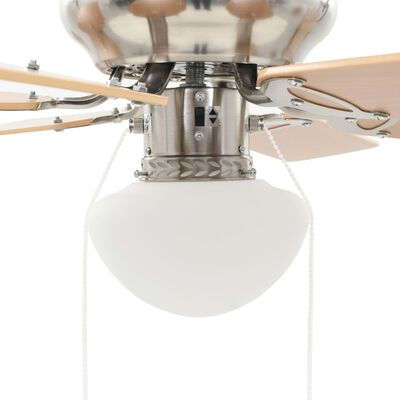 vidaXL kaunistatud laeventilaator valgustusega, 82 cm, helepruun