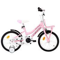 vidaXL laste jalgratas esipakiraamiga, 16'', valge ja roosa