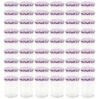 vidaXL klaasist moosipurgid valge ja lilla kaanega 48 tk, 400 ml