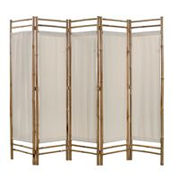 vidaXL kokkupandav 5 paneeliga vahesein, bambus ja lõuend, 200 cm