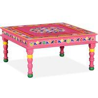vidaXL kohvilaud, mangopuidust, roosa, käsitsi värvitud